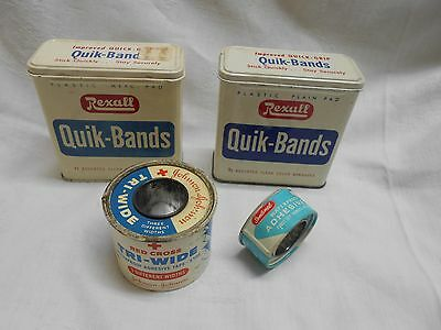 4 vintage metal medical containers Rexall band aids red cross tape dispeners