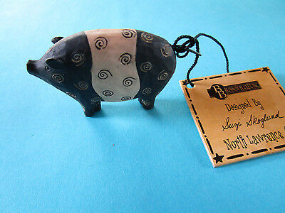 "Blossom Bucket Suzi Skogland Folk Art black & white pig figure mini 1 1/4"" tall"