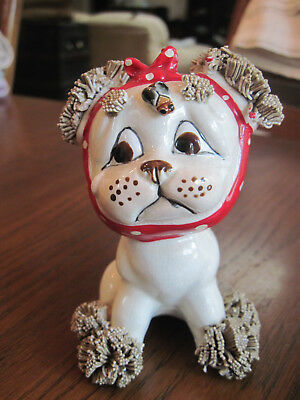 Lefton Spaghetti Puppy Dog With Red Bandanna Over Head for Toothache w/Label