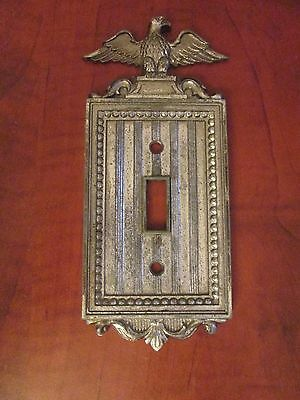 Vintage Eagle Light Switch Cover Plate NLCO Colonial Metal Striped