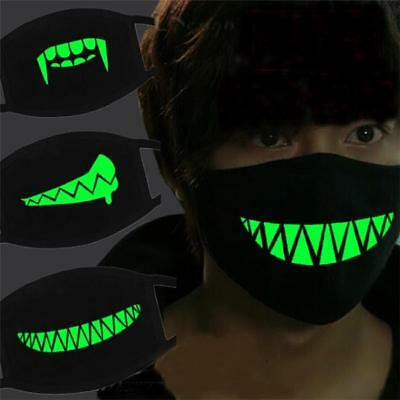 Women Men Cotton Anti Dust Luminous Face Mouth Mask Glow In The Dark Halloween J