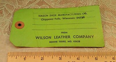 Advertising  Id Tag Wilson Leather Bonne Terre MO Mason Shoe Chippewa Falls WI