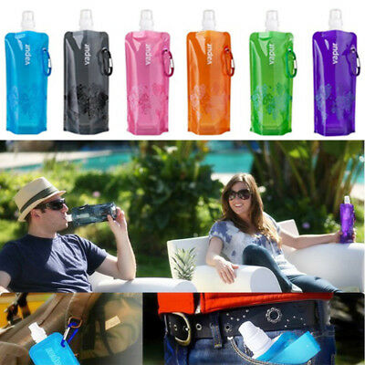 Flexible Collapsible Foldable Reusable Water Bottles Ice Bag Pouch Outdoor Sport
