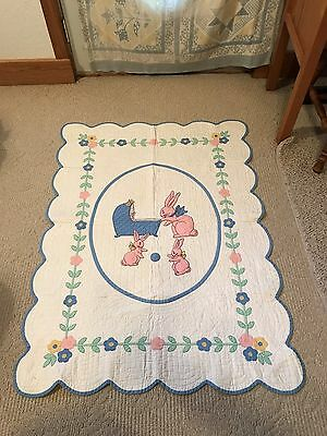 ADORABLE Bunny Vintage Quilt for Faith Mission of Elkhart