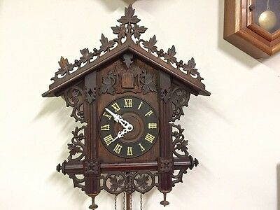 Antique Hand Carved Wood-German-Geo Kuehl-Gk-Railroad Station*quail*cuckoo Clock
