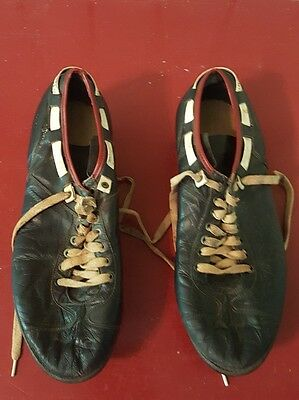 Vintage pair RIDDELL SNUG TIE Leather Football CLEATS Size 10