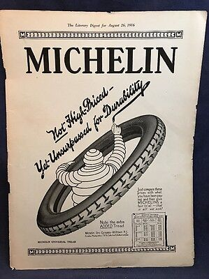 "1916 Ad MICHELIN Tires Man 9"" x 12"" Universal Tread Vintage Car St Andrews Rare"