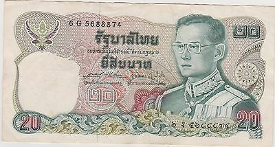 Kingdom of Thailand older 20 Baht note #6G 5688874. Young King Bhumibol