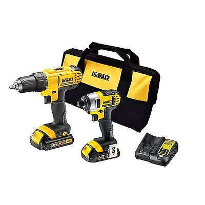 DeWalt 18V Li-ion 2 Piece Cordless Drill And Impact Driver Kit Combo