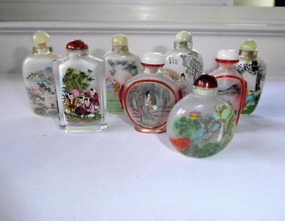 Estate Lot 8 Chinese Inside Painted Glass Snuff Bottles
