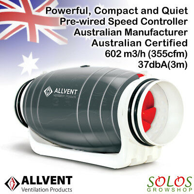 "HYDROPONIC SILENT INLINE EXHAUST FAN ALLVENT 6""/150mm 2 SPEEDS AU PLUG WARRANTY"