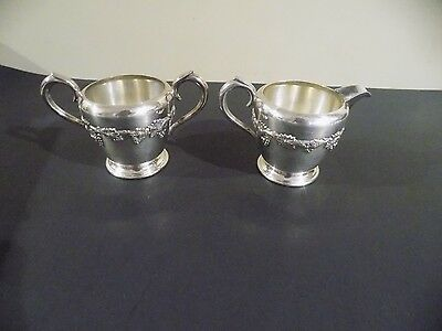 W M Rogers Old English Reproduction Silverplate Creamer Open Sugar Bowl Set VTG