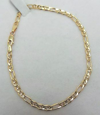 10Ct Yellow Gold 3 + 1 Chain Link Bracelet - 20 Cm