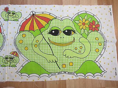 """Vintage Cut & Sew Gingham Frog with Umbrella 12.5"""" x 17.5"""""""