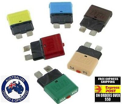 5 x assorted CIRCUIT BREAKERS - BLADE FUSE - REPLACE STANDARD Fuses