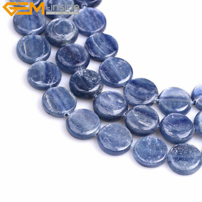 """Natural Stone Coin Genuine Blue Kyanite Loose Beads Jewelry Making Strand 15"""""""