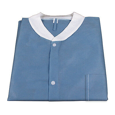 Medical Disposable Protective Lab Coat Gown With Pockets Dark Blue 10/pcs