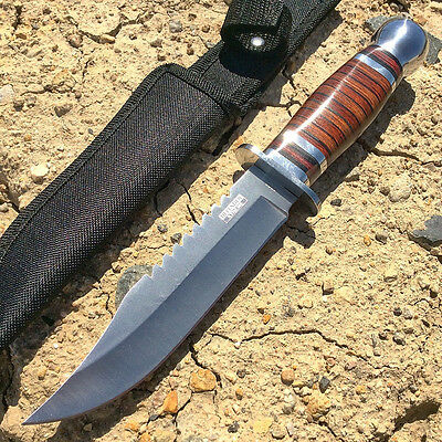 Knife Hunting Fixed Blade Sheath Survival Bowie W Tactical Full Tang Handle Wood