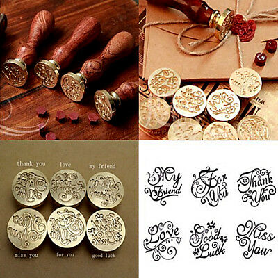 Vintage Handle Pattern Stamp Letter Card Wooden Wax Seal For Wedding Invitation