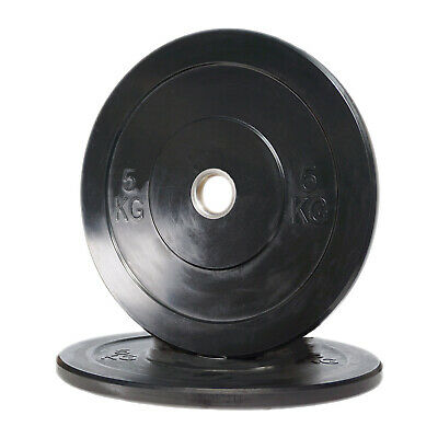 POWER MAXX 5kg Black Bumper Plate // Olympic Weights Rubber Lifting Training Gym