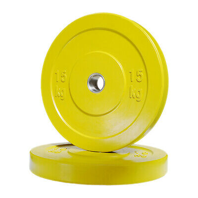 POWER MAXX 15kg Bumper Plate // Olympic Weights Rubber Lifting Training