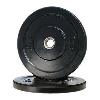 POWER MAXX 10kg Black Bumper Plate // Olympic Weights Rubber Lifting Training
