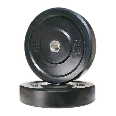 POWER MAXX 25kg Black Bumper Plate // Olympic Weights Rubber Lifting Training