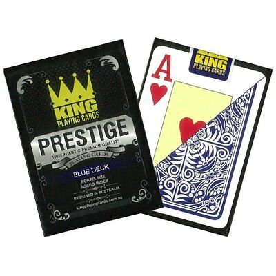 "King ""Prestige"" 100% Plastic Playing Cards Poker Size Jumbo Index Blue Deck"