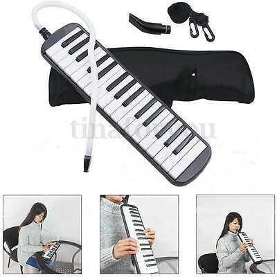 32 Piano Keys Melodica For Beginner Musical Education Instrument Black With Bag