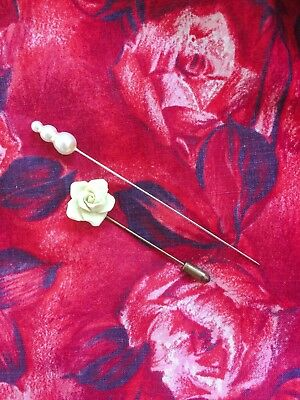 Lot of 2 Vintage 1950s Hat Pins Cream Rose and Pearl Stack