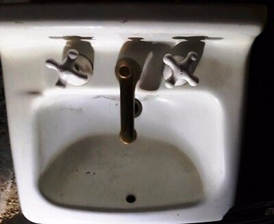 Antique Cast Iron White Porcelain Sink Old Amer Standard circa 1935