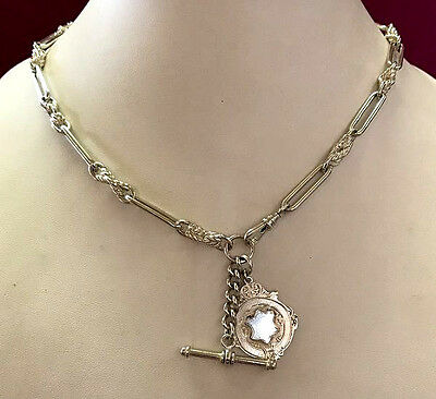 Vintage Antique Sterling Silver Fancy Link Fob Chain - Necklace - Hallmarked