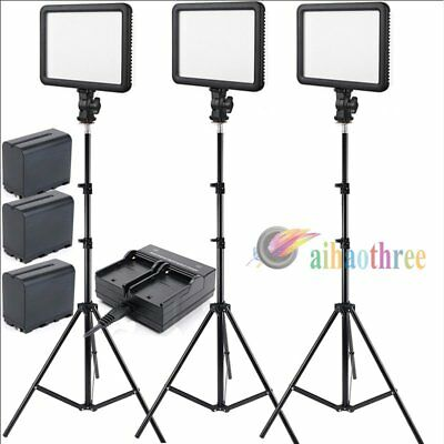 3Pcs GODOX LEDP120C Changeable Version LED Light + F970 6600mAh Battery + Stand