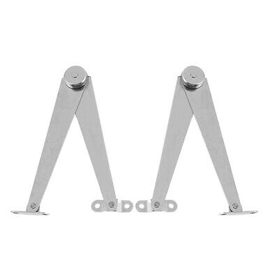 Metal Furniture Cabinet Lid Support Hinge Stay Pair - Silver Tone CS