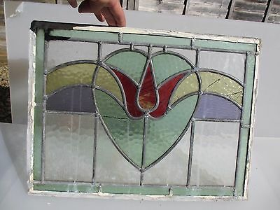 Victorian Stained Glass Window Panel Architectural Antique Old Nouveau Vintage