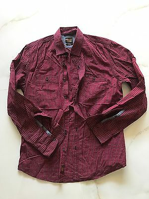 MENS INDUSTRIE RED and Black Check Formal Shirt SIZE SMALL - LIKE NEW