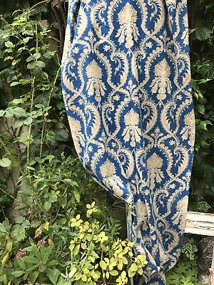 """Antique Gold Blue Toile Cotton French Curtain panel c1860s 88"""""""