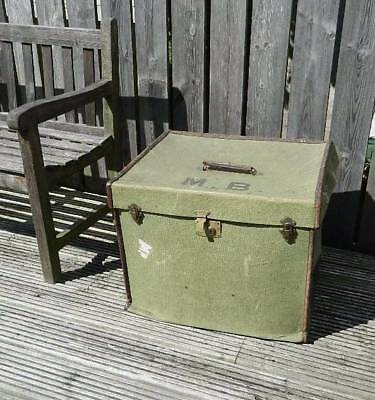 Large antique Steampunk green canvas steamer trunk with leather bound edges