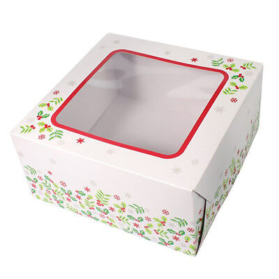 "Christmas Cake Box - 10"" Square Holly Printed Windowed - BUY 3 FOR FREE SHIPPING"