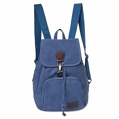 Womens Girl Canvas Backpack School Travel Satchel Laptop Bag Rucksack Blue