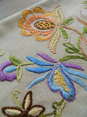 Vintage sweet hand embroidered Jacobean design cream cushion cover.