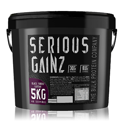 Serious Gainz Weight Gainer 5kg Muscle Mass Gain Protein Powder - Black Forest