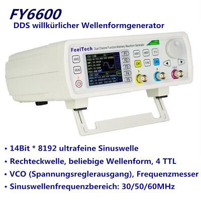30/50/60MHz FY6600 Signalgenerator 2-CH DDS Funktion Beliebige Wellenform VCO