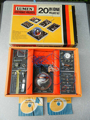 Vintage LUMEN ELECTRONIC PROJECT KIT 20 in 1 projects