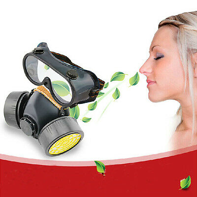 Industrial Chemical Gas Anti-Dust Spray Paint Dual Respirator Mask W/ Goggles Y,