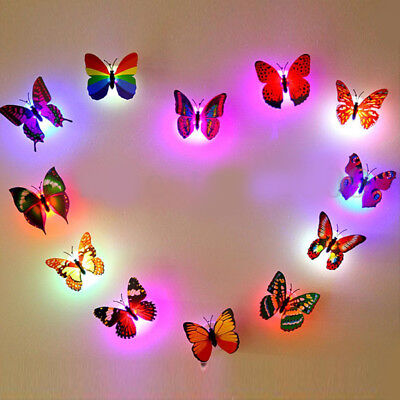 Colorful Changing Butterfly LED Night Light Lamp Home Wall Room Party Decorative
