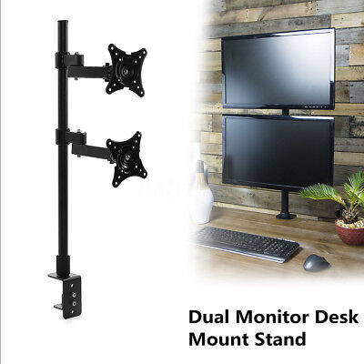 14~24'' Dual HD LCD LED Desk Mount Monitor Stand Bracket 2 Arm Holder Screen TV