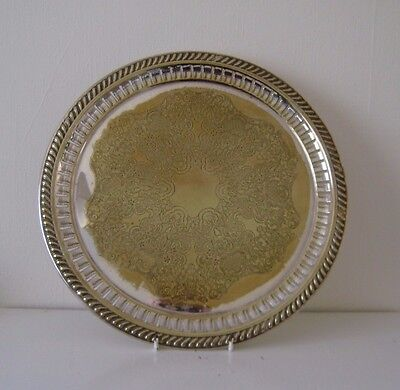 Vintage Brass Plated Plate Serving Ornate Round Chased Large Tray 13' Wide No 2