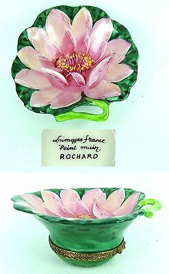 ROCHARD LIMOGES France HAND PAINTED RARE Water Lily Pad Flower Hinged Box