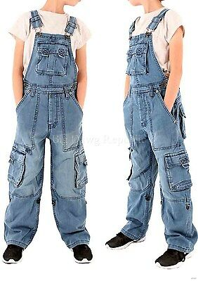 Peviani Cargo Combat Kids Girls Boys Stone Wash Denim Dungarees 8 - 14 years old